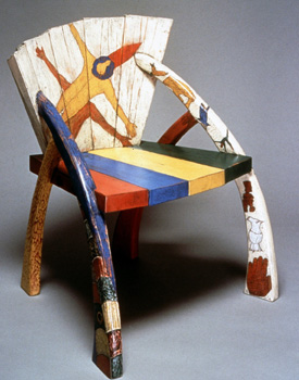 wooden chair with milk paint