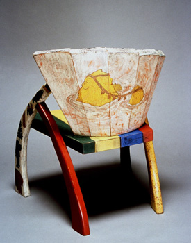 painted, hand carved chair