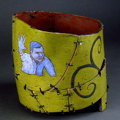 painted and sewn wood vessel
