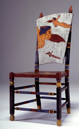 hand painted and incised wood chair