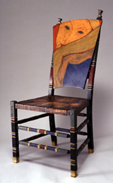 hand painted and incised chair
